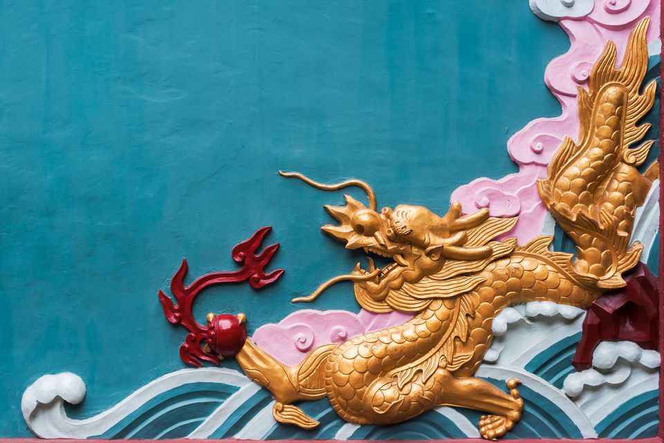 Colorful dragon fresco in a buddhist temple, Chengdu, Sichuan Province, China