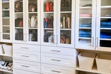 Well organized walk in closet