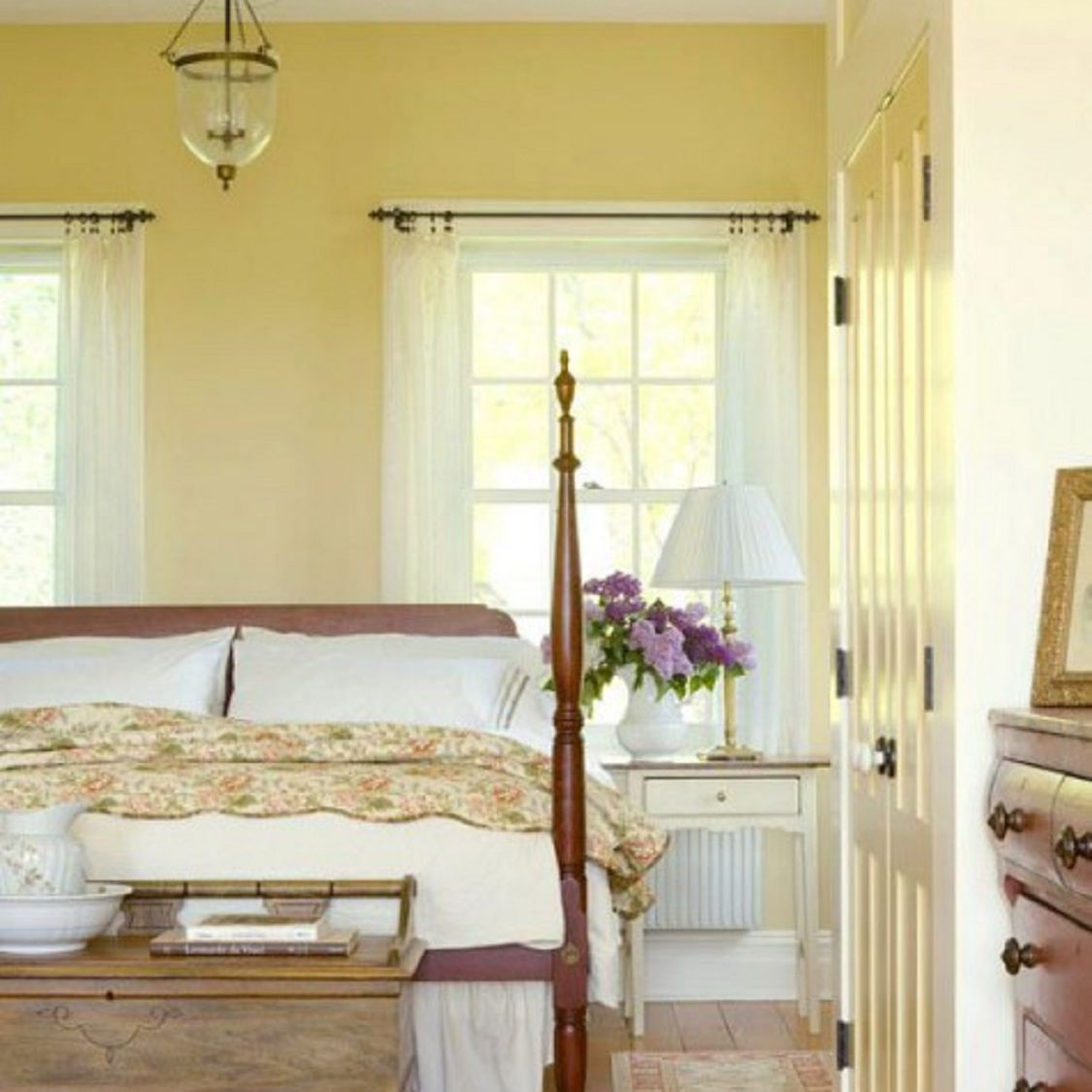 Yellow and white country bedroom