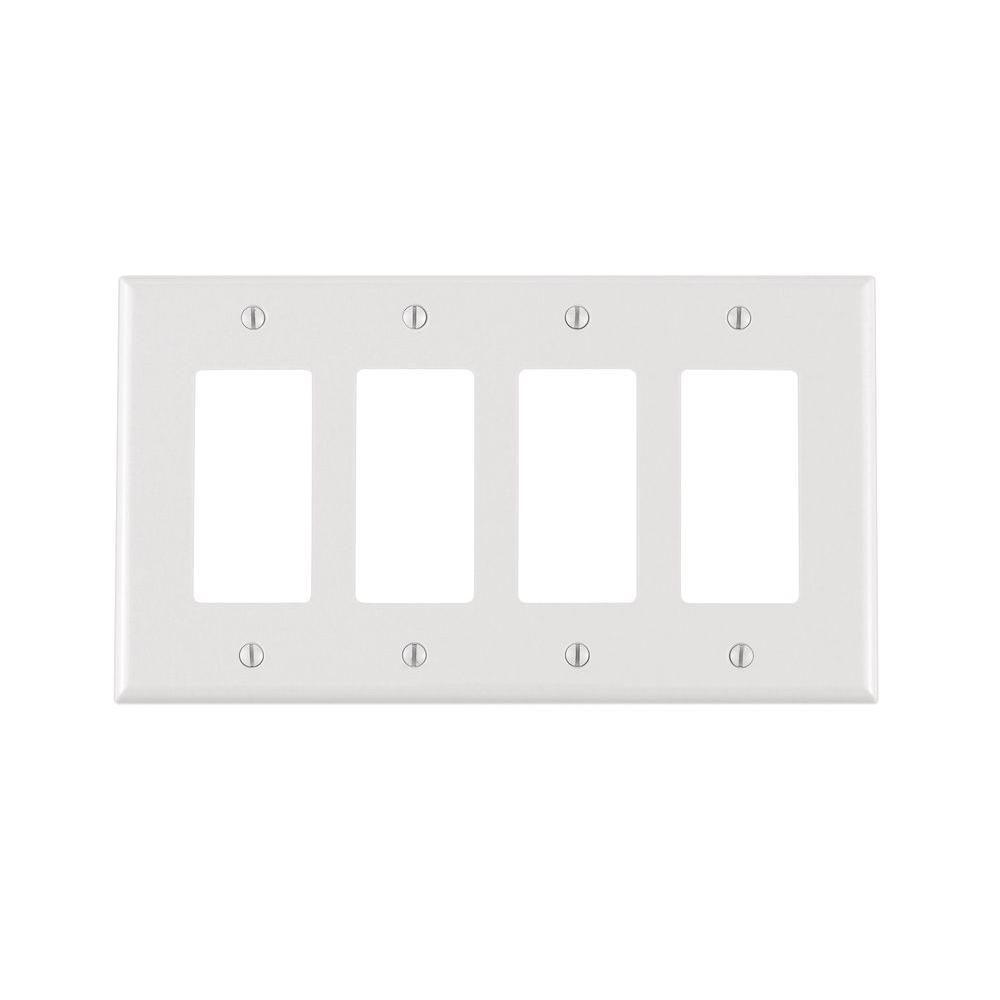 Leviton Decora 4 Gang Midway Nylon Wall Plate White
