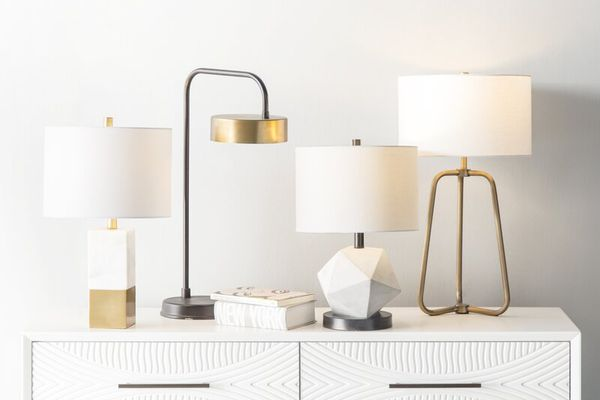 modern lamps on white table
