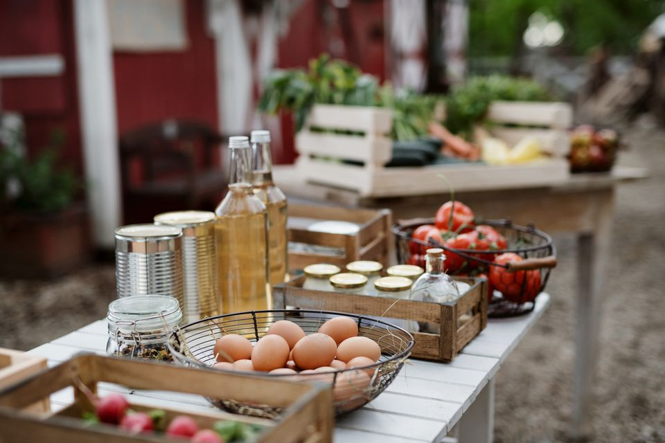 Fresh organic vegetables and homemade products for sale on farmers market.