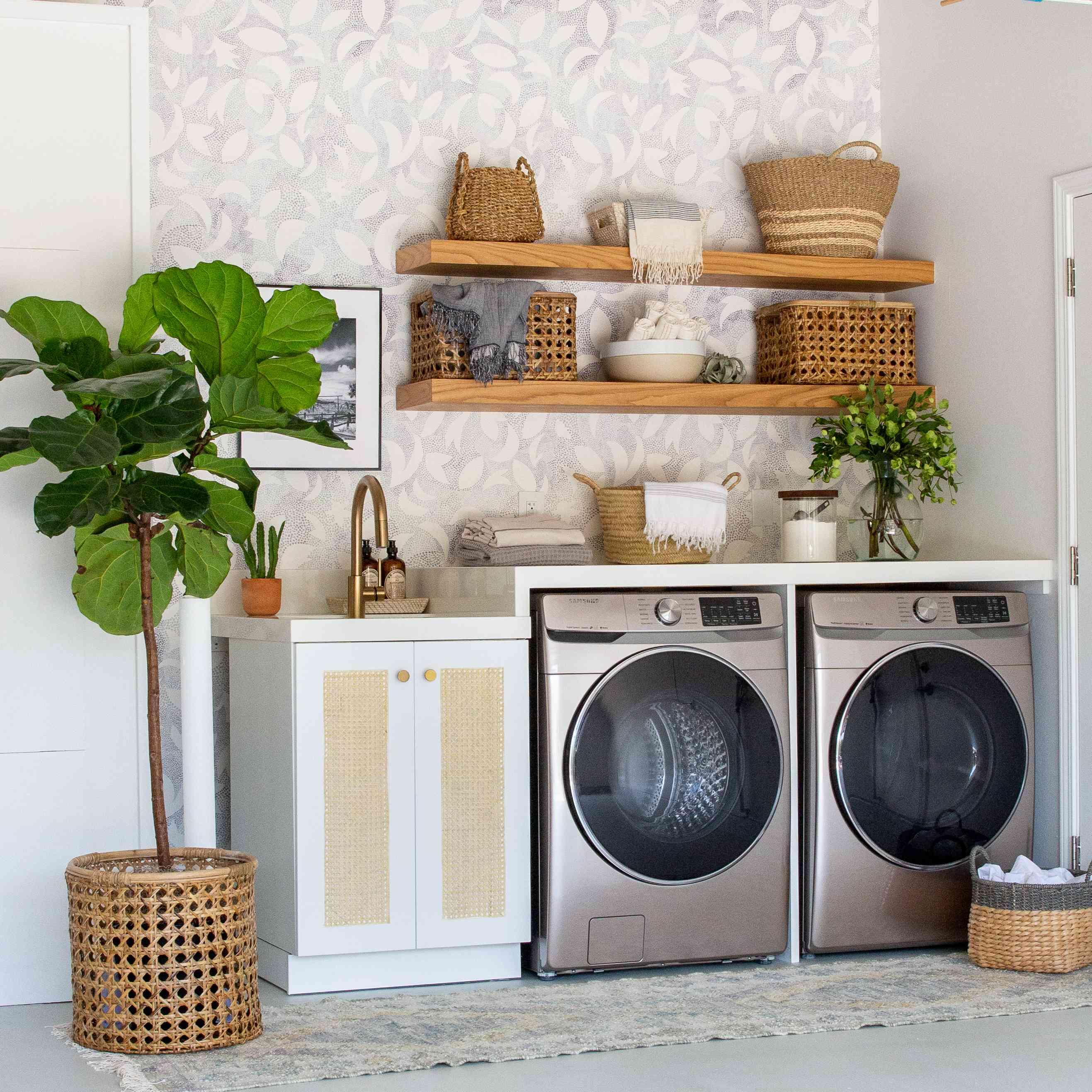 light gray laundry room