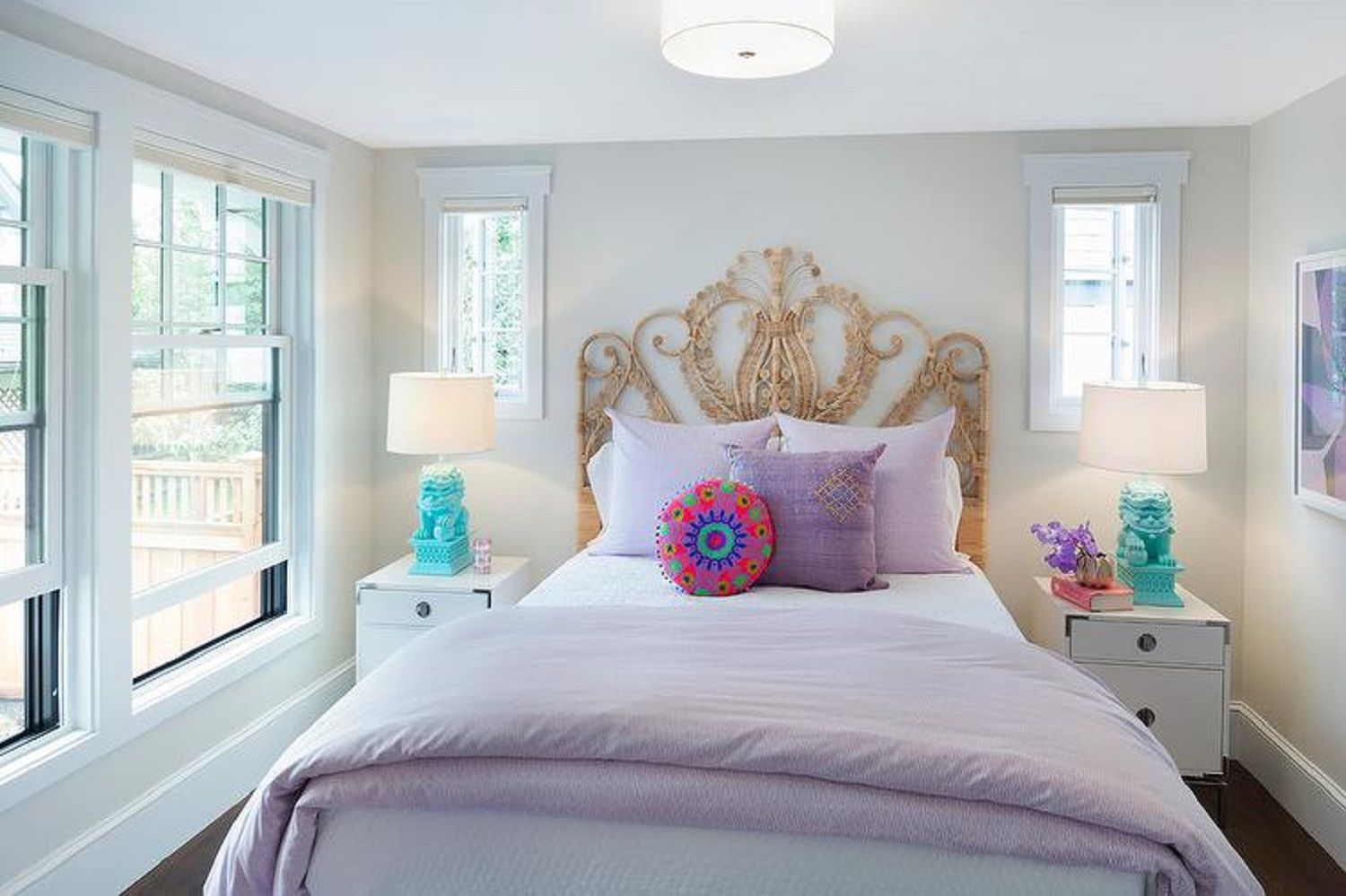 Lavender bedroom with wicker headboard