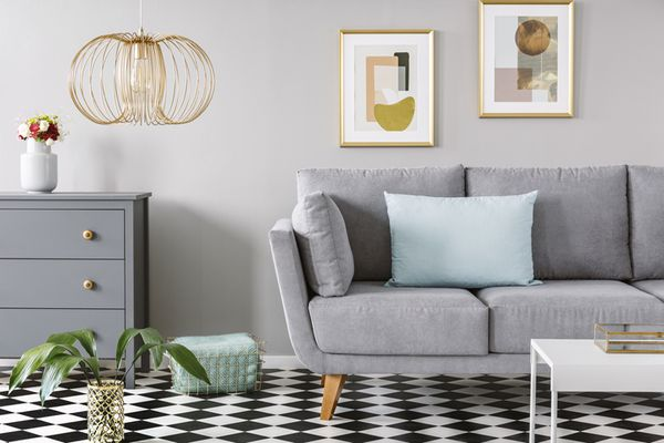 Checkerboard linoleum flooring in living room
