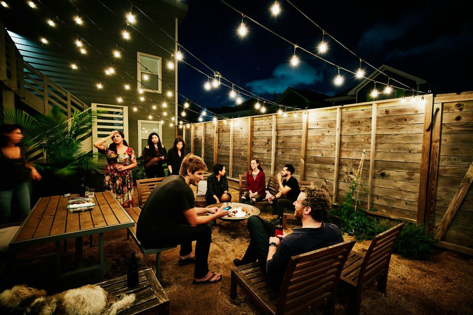 backyard party with string lights