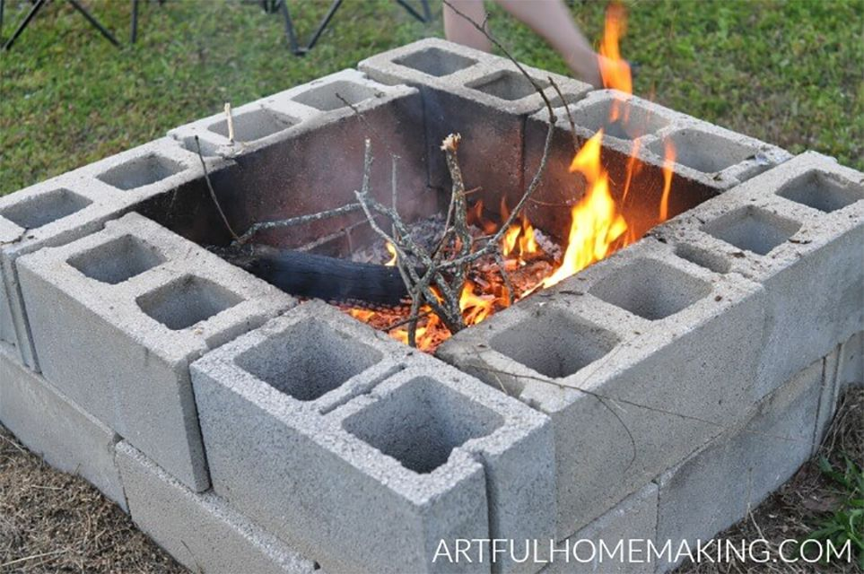 A cinder block fire pit