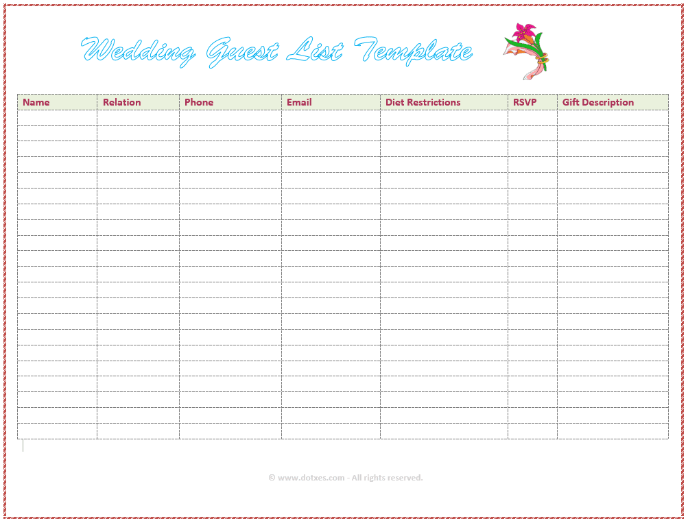 Screenshot Of A Free Wedding Guest List Template From Dotxes