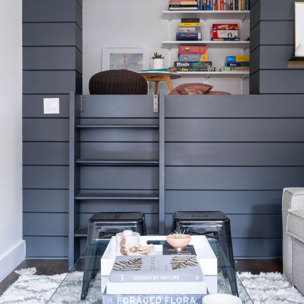 Wide show of living room libary nook