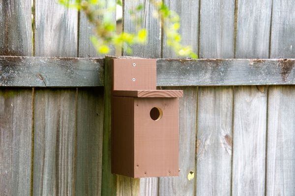 A brown birdhouse mounted on a post.