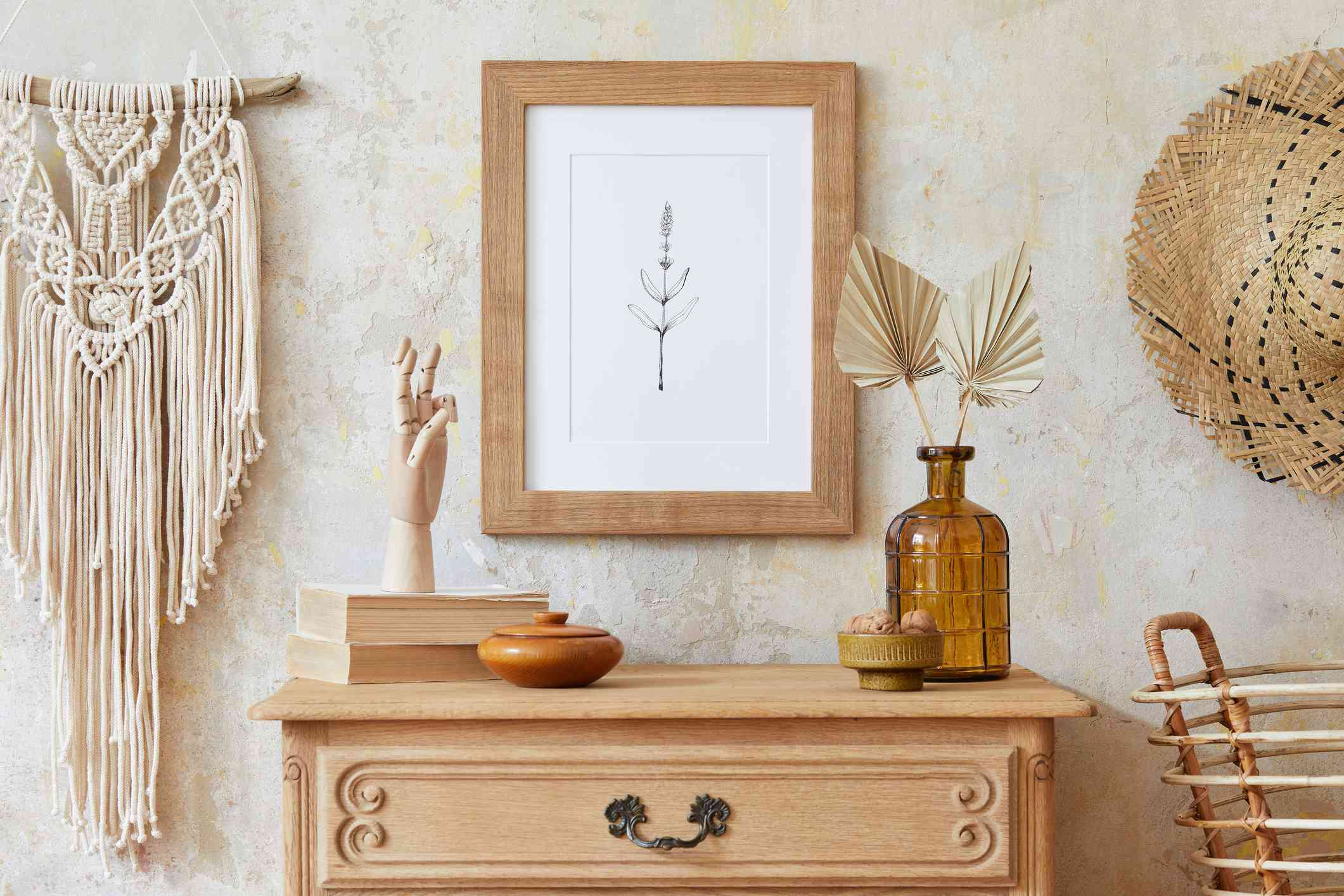 A display of boho design accents