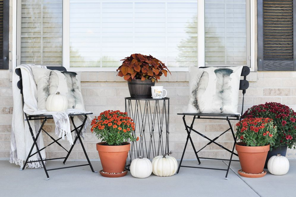 front porch seating areas fall flowers