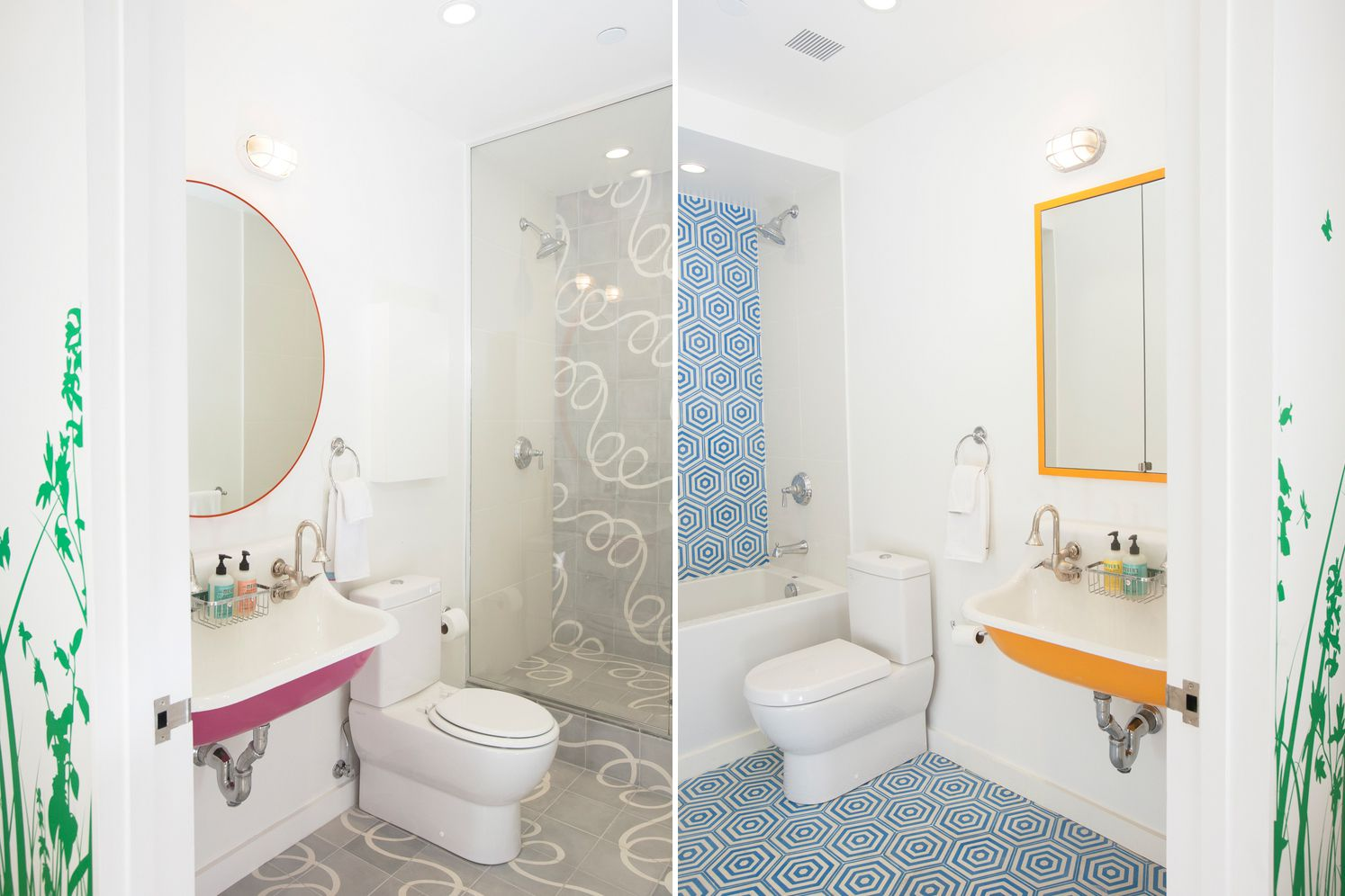 White bathrooms with pops of color