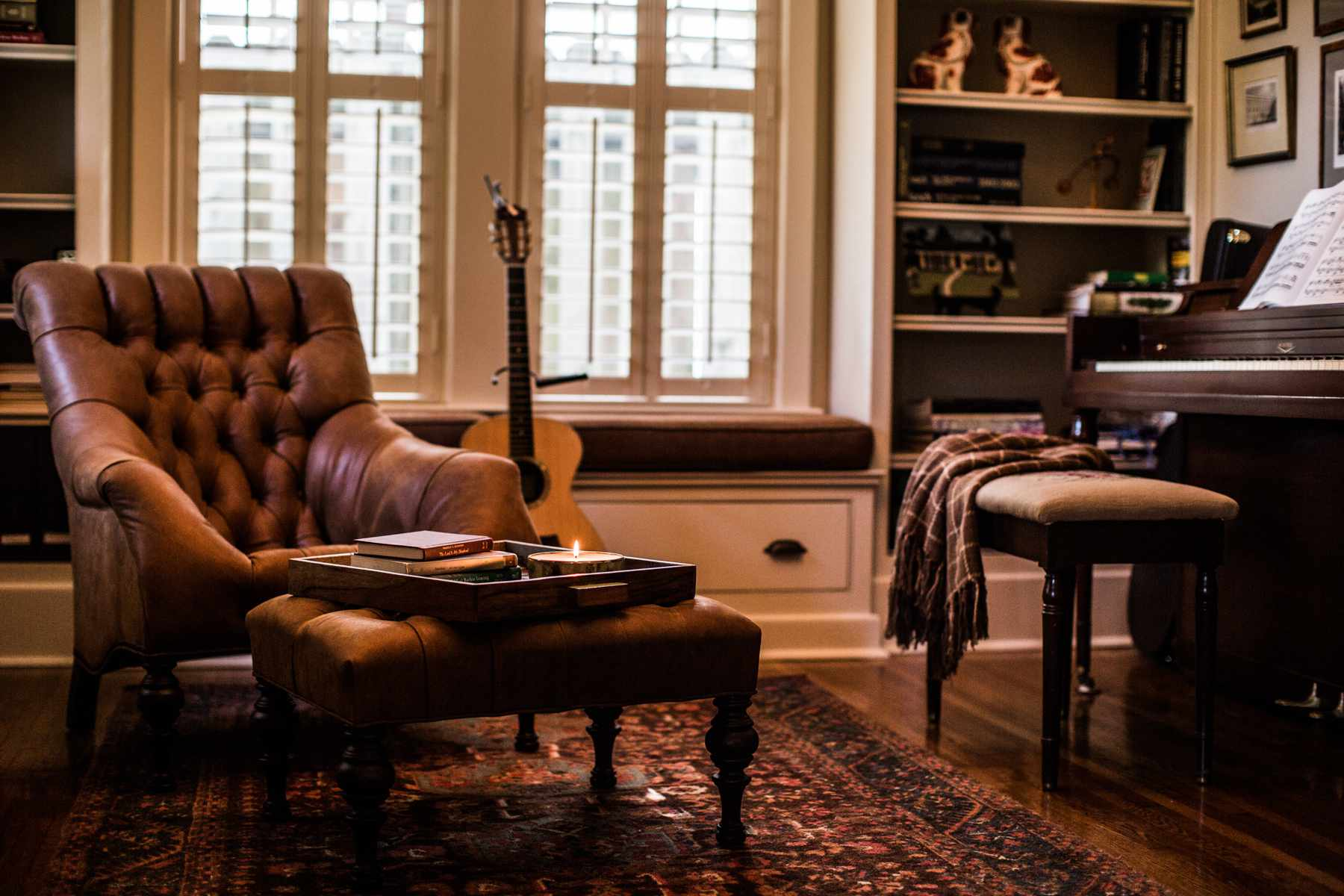 warm leather chair in traditional den