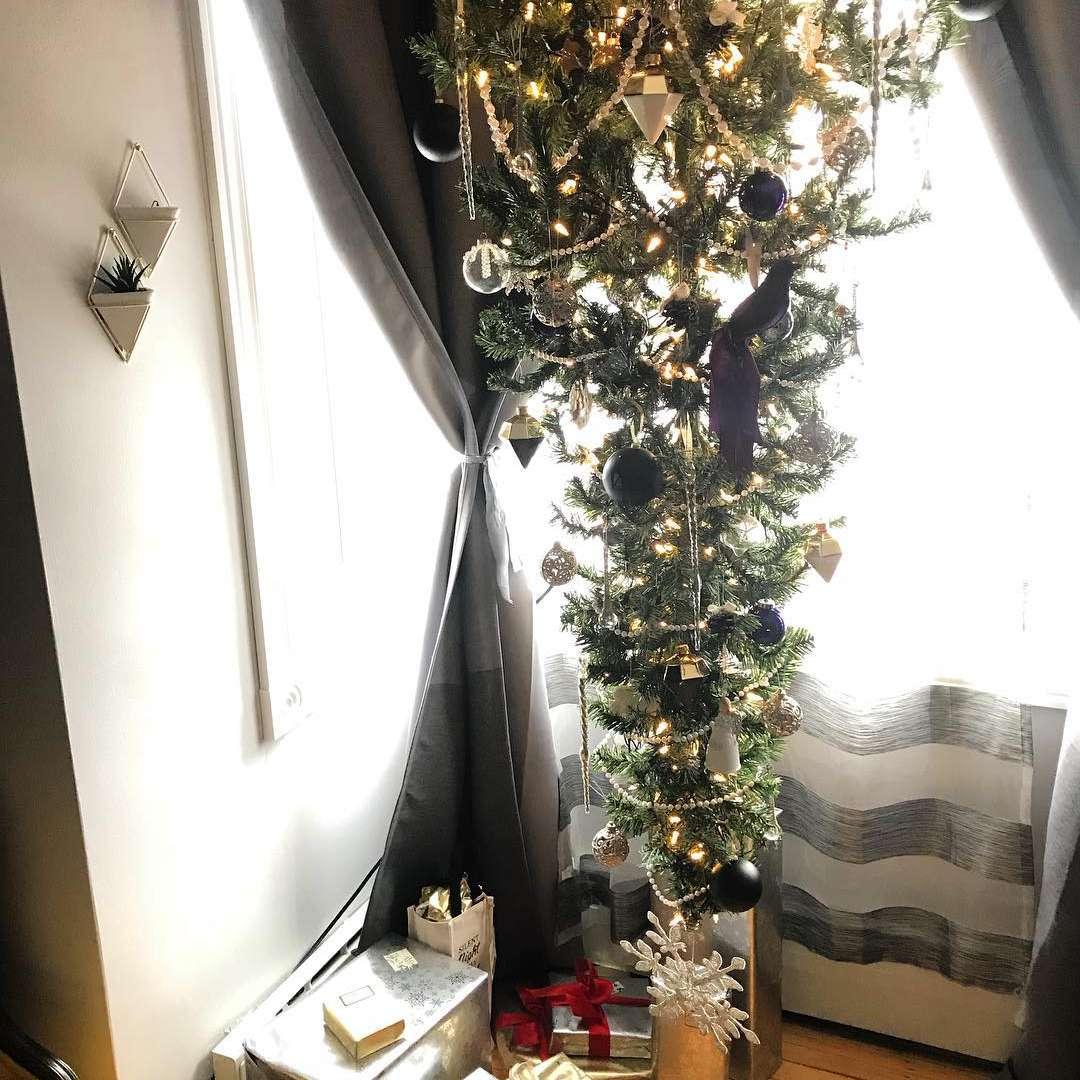 black and white upside down Christmas tree
