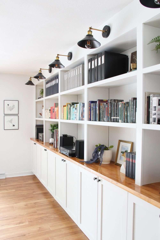 A long row of built-in bookshelves