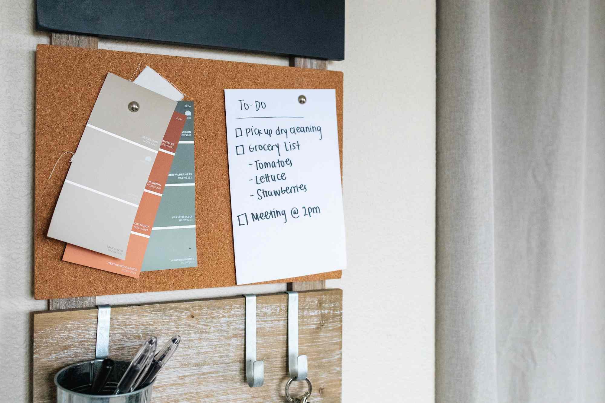 a to-do list on a bulletin board