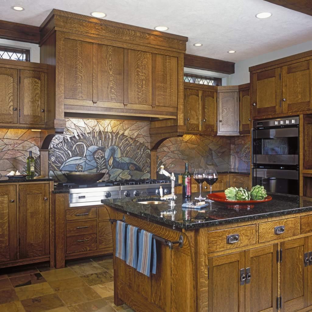 Craftsman oak kitchen with towel bar on island