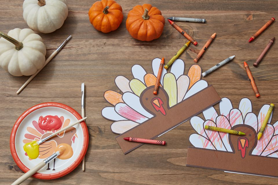 Thanksgiving painting and coloring for kids