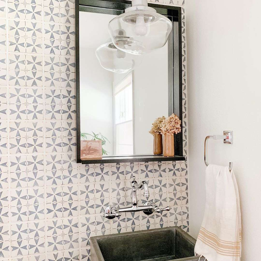 Bathroom with cement sink