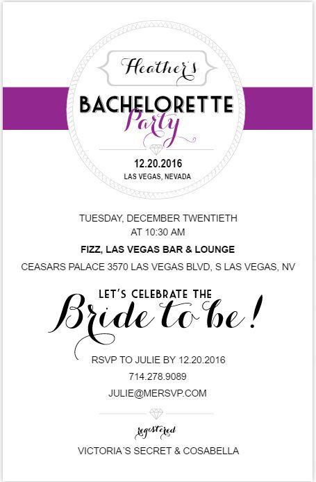 A purple, black, and white bachelorette party invite.