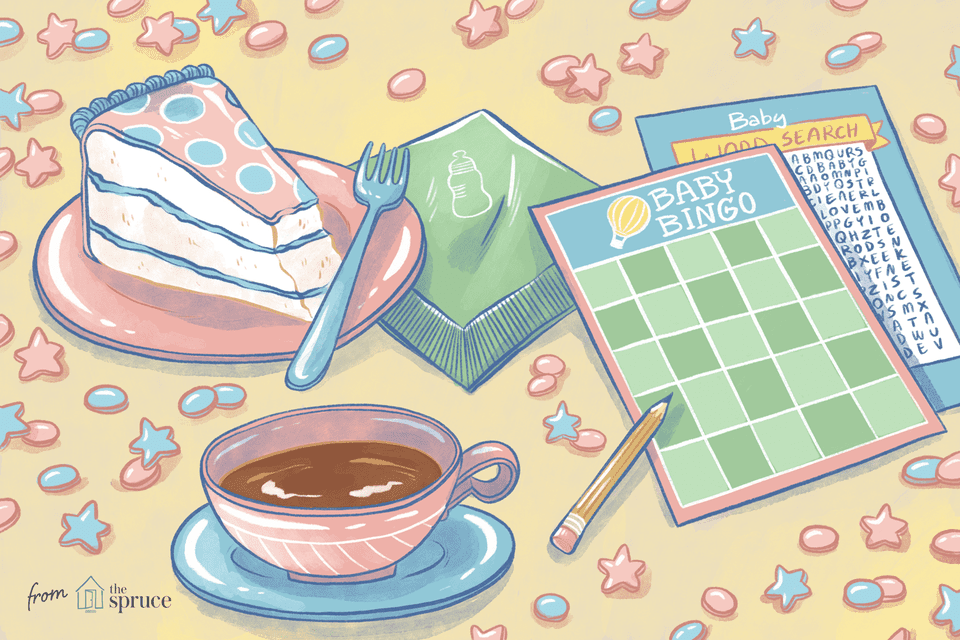 Illustration of printable games and dessert at a baby shower