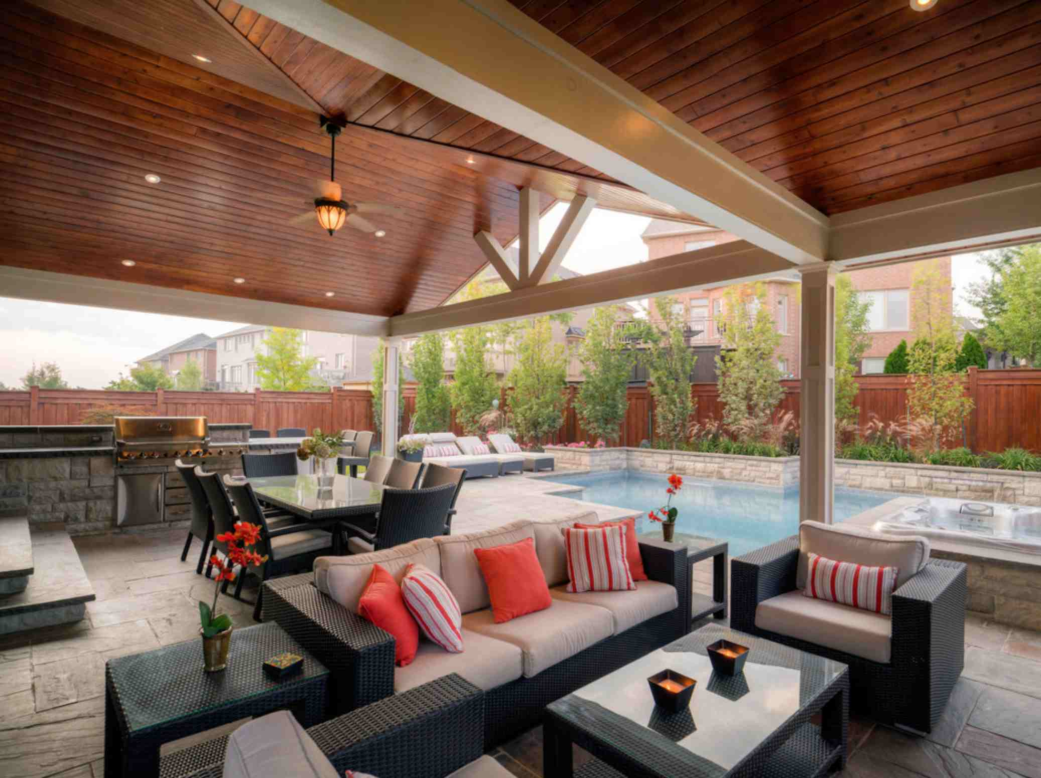 covered patio outdoor living room and dining room near pool
