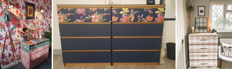 Three IKEA Malm dresser hacks, in paisley print, navy with florals, and scallop designs