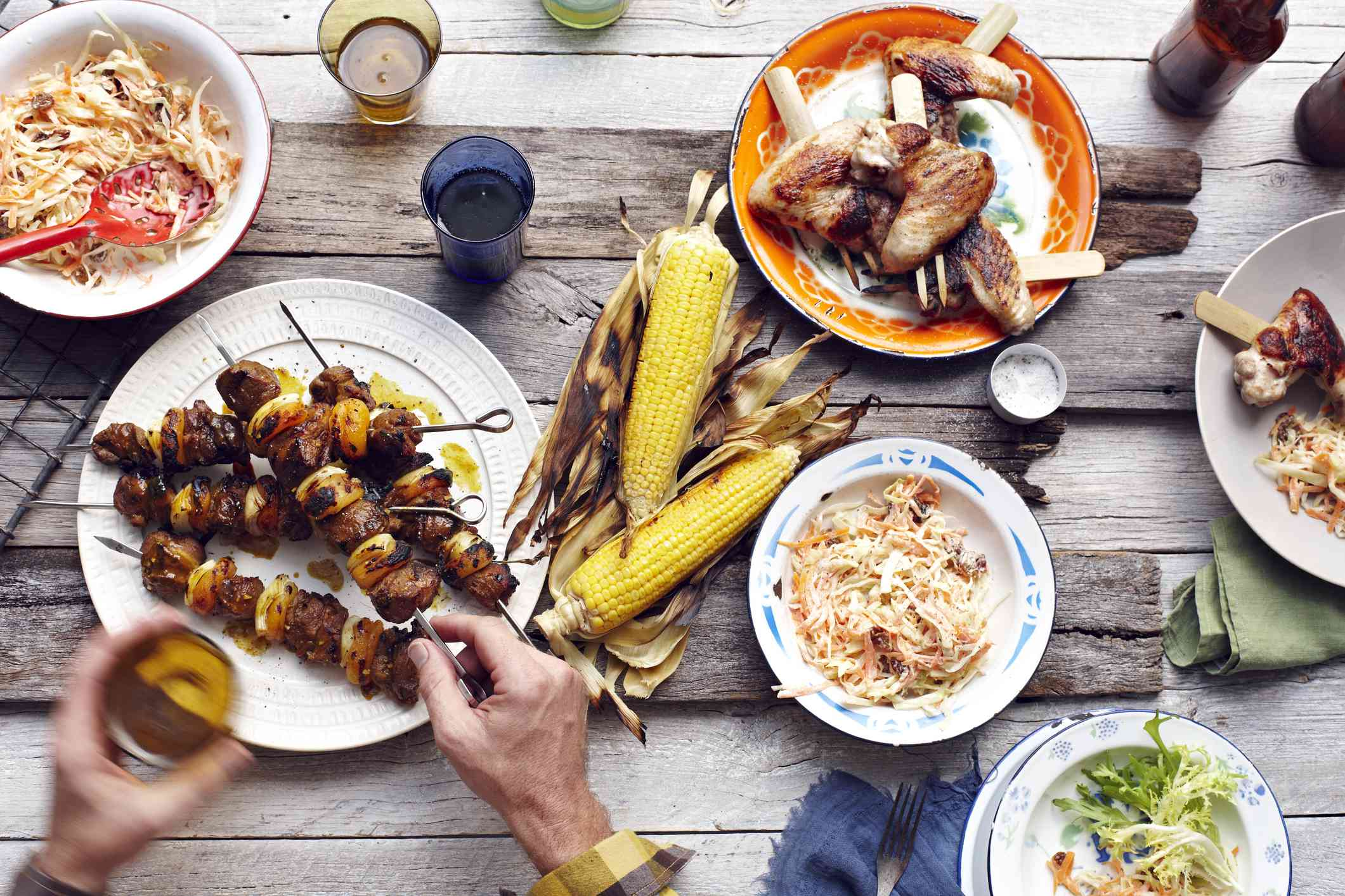 Variety of grilled food