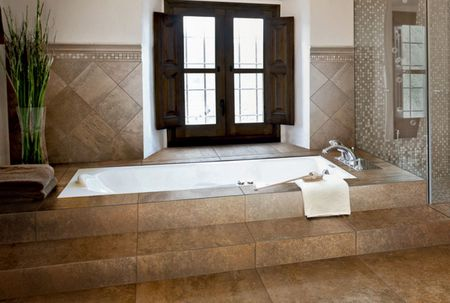 Old World Look Bathroom With Large Tile Frameless Shower