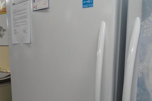 An upright freezer