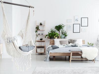 White hammock in bedroom interior