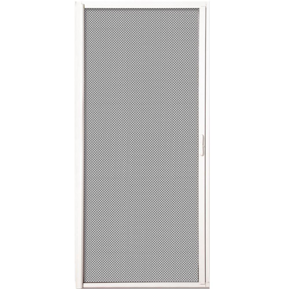MMI White Aluminum Inswing Retractable Double Screen Door