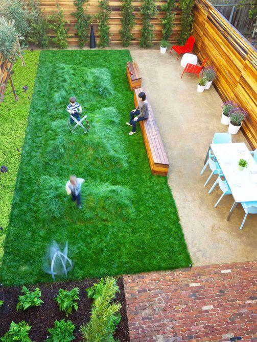 vista aérea de jardines pequeños