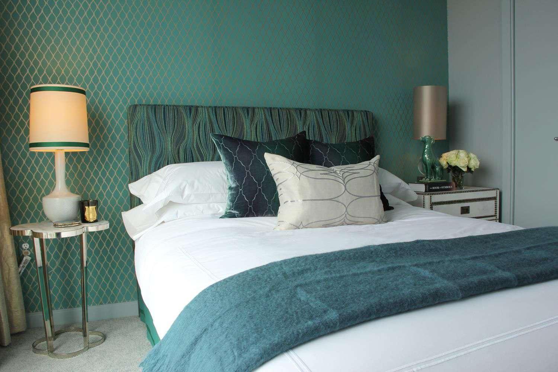 retro bedroom with green walls
