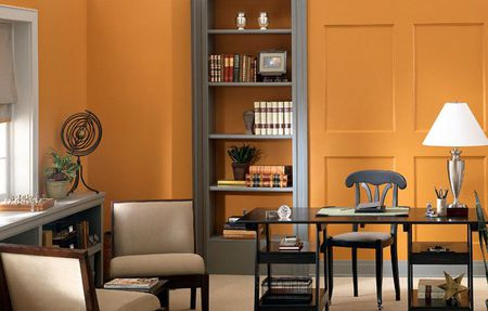 Bold Ertive Orange Wall Color Idea For Office