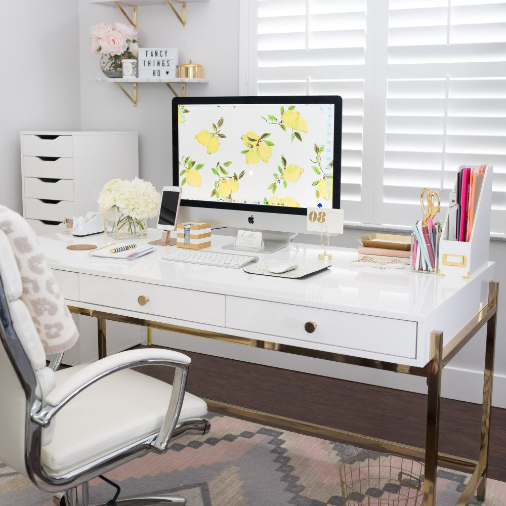 Modern white desk with accessories