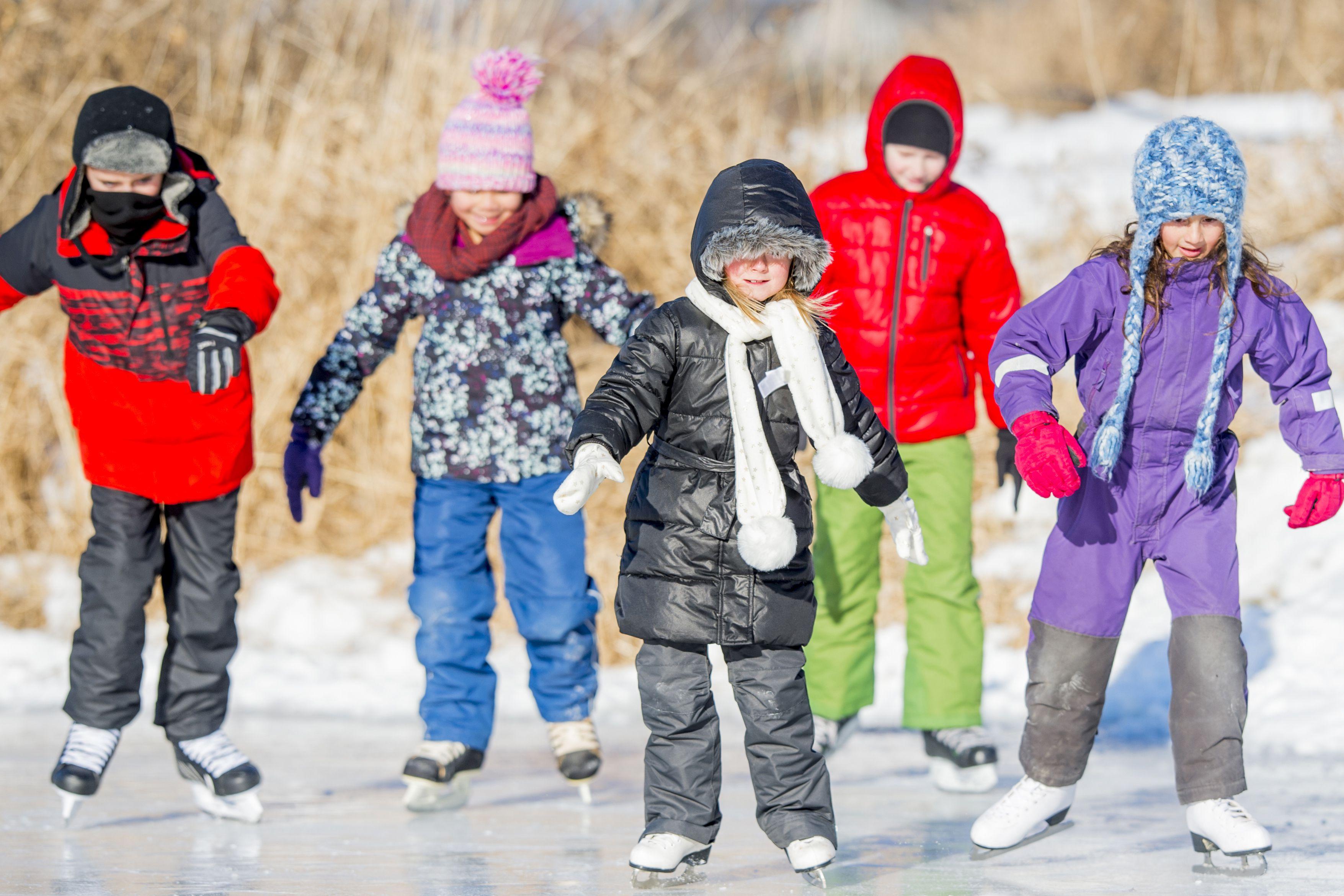 Elementary Children Skating Together