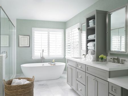 Gray And Mint Green Spa White Bathroom