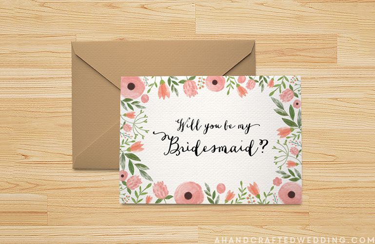 A Will You be My Bridesmaid card laying on a table.