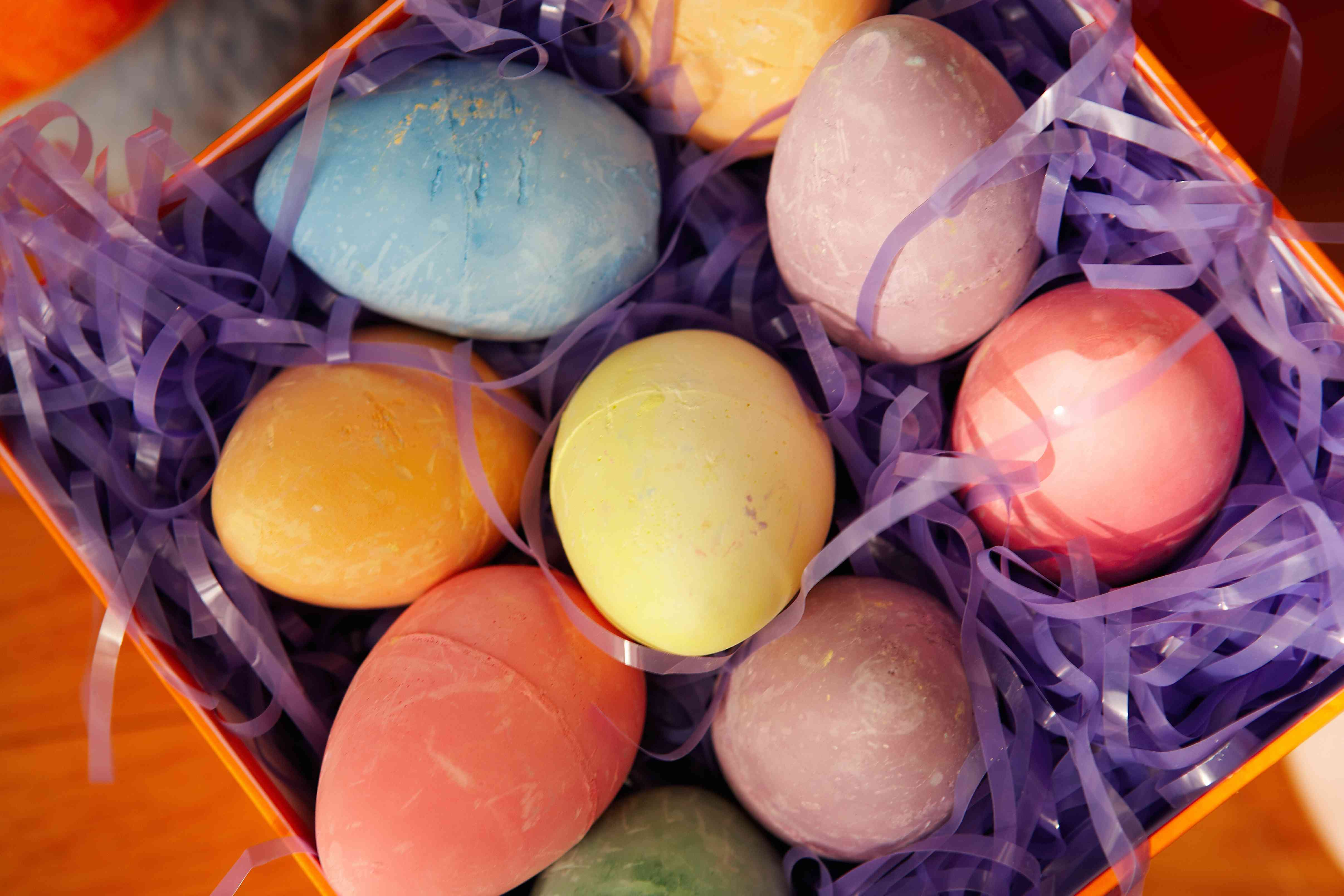Dyed Easter eggs in box