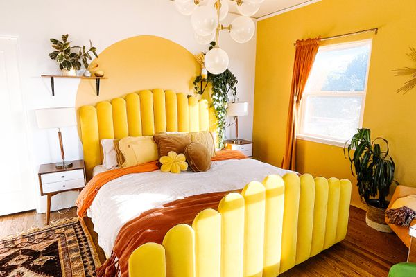 room with bright yellow accents