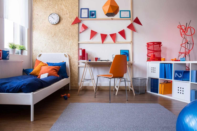blue and orange child's bedroom
