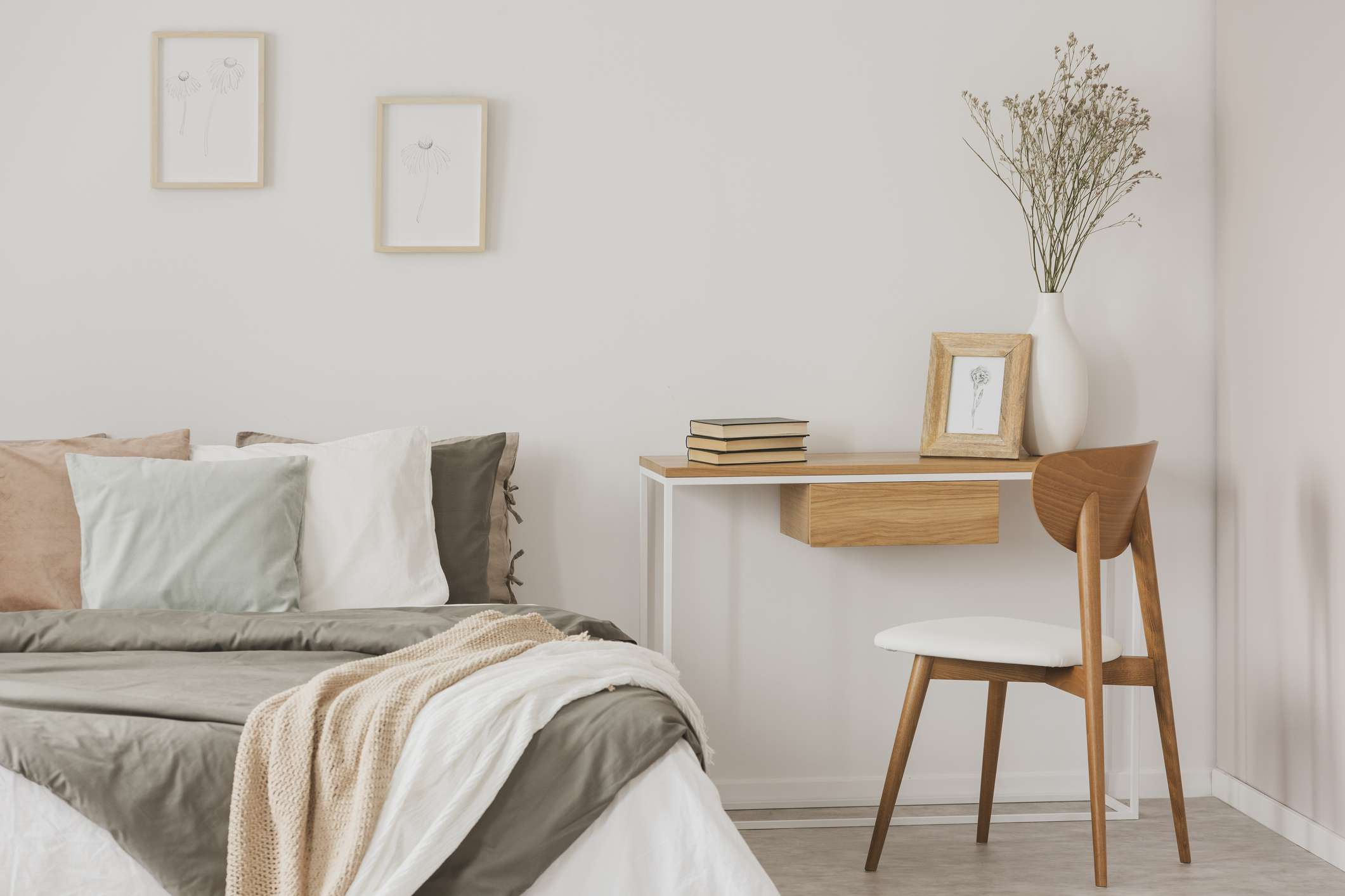 warm bedroom with desk