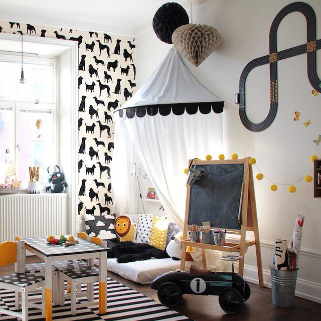 Nordic nursery in black, white, and yellow