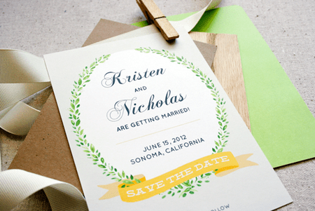 picture of a green yellow and white save the date template