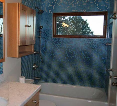 mosaico de vidrio azul