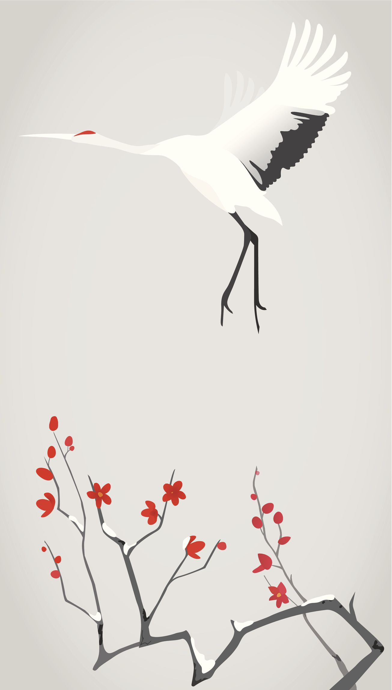 Crane flying above the plum flower branch in winter after snow.
