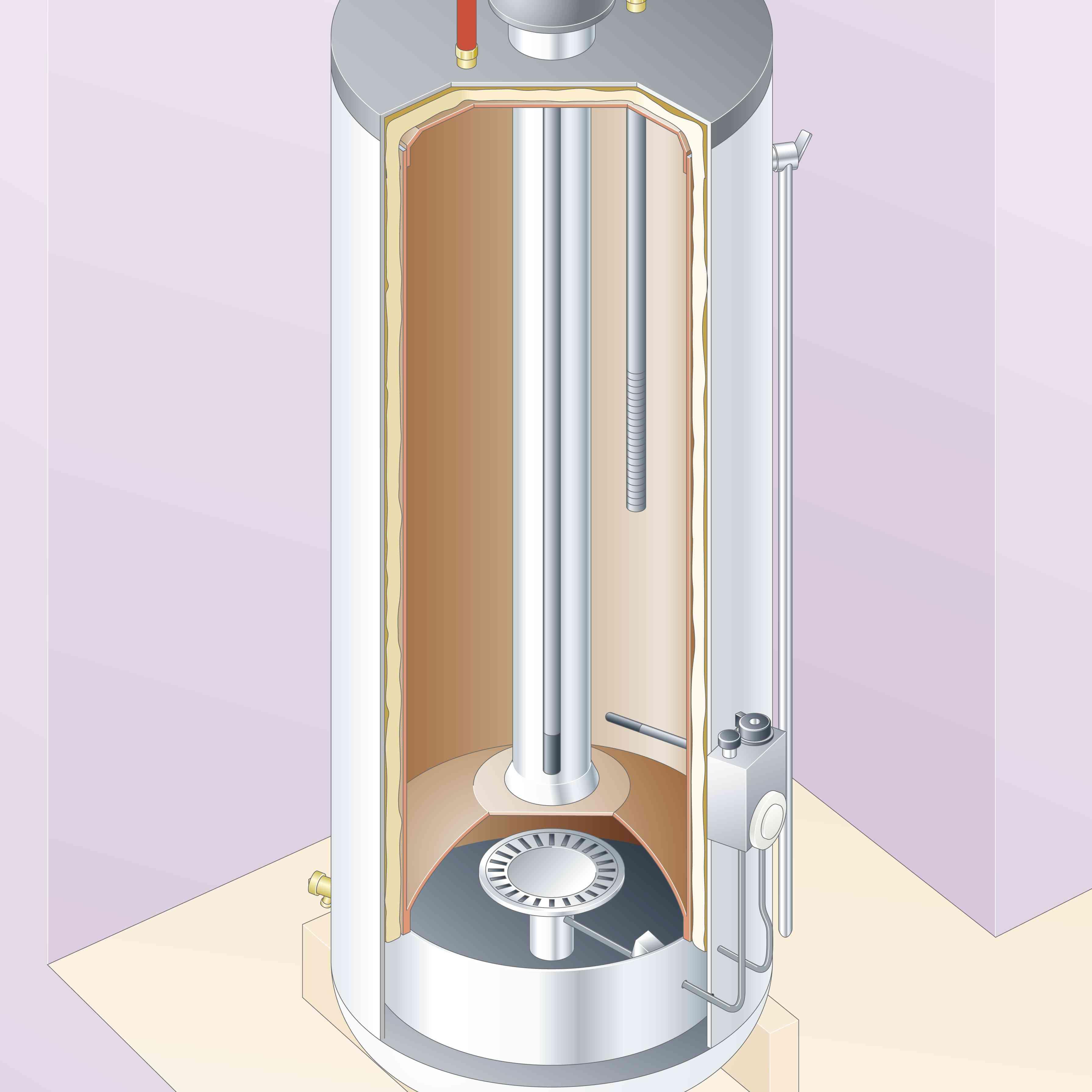 Inside of a gas hot water heater, flue
