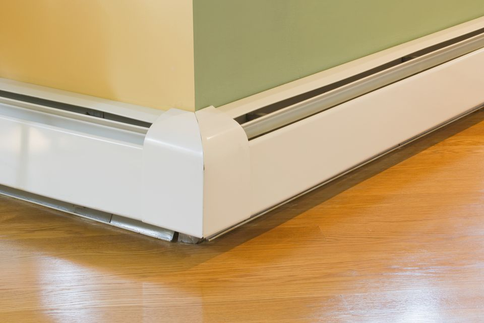 Baseboard heater where two walls meet.